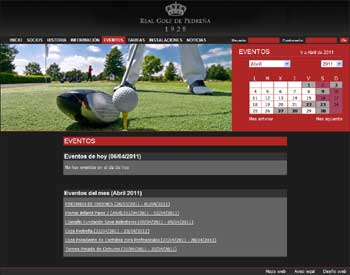Web GOLF Pedreña Seccion Eventos