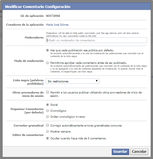 config facebook comments