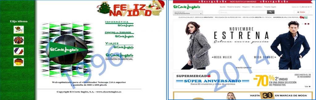 Comparativa de la web El Corte Inglés del año 1996 y la actual en 2014