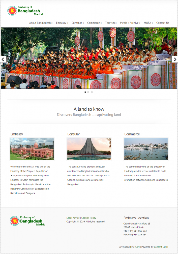diseño web embajada de Bangladesh en Madrid