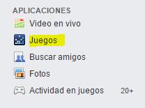 """opción """"juegos"""" Facebook"""