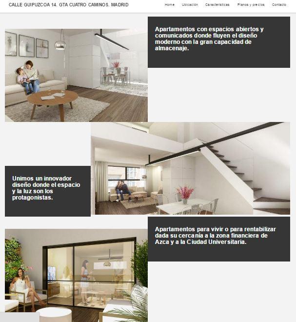 web para promoción de vivienda nueva en Madrid centro (Cuatro Caminos)