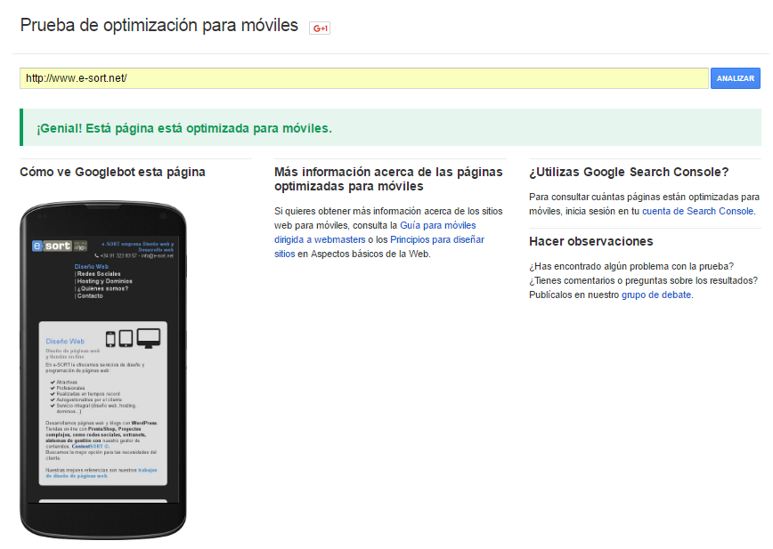 comprobar optimizacion movil e-sort