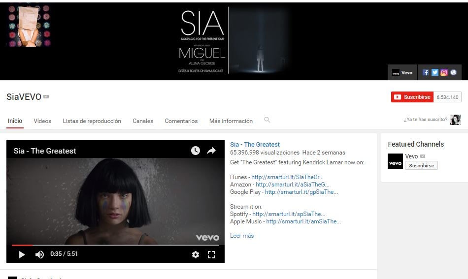 youtube-sia- musica gratis