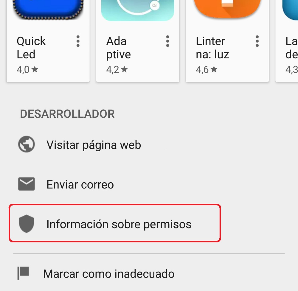 linterna play store - Apps gratuitas - tráfico de datos - información de permisos - e-SORT