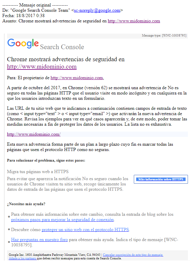 Email de Google - Chrome mostrará advertencias de seguridad